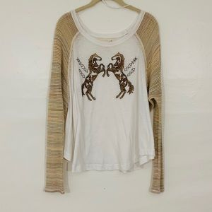 Free People Embroidered Equestrian Long Sleeve Tee